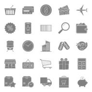 Sales and shopping silhouettes icons set N2