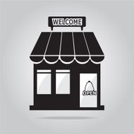 Shop building with welcome sign illustration N2
