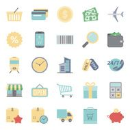 Sales and shopping flat icons set