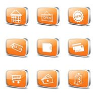 Shopping Sign Square Vector Orange Icon Design Set 2 N3