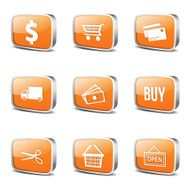 Shopping Sign Square Vector Orange Icon Design Set N3