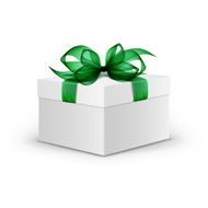 White Box with Green Ribbon and Bow Isolated on Background