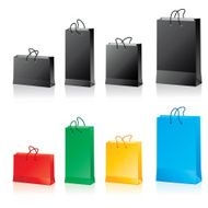 black and colored paper bags