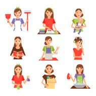 Set of housewife icon in flat style N2