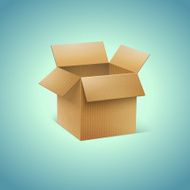 Vector Realistic Cardboard Box Icon N2