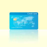 Credit Card Blue with Chip Realistic Vector Illustration Flat Design