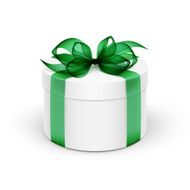 White Round Gift Box with Green Ribbon and Bow Isolated