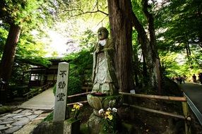 mysterious buddha statue in japan mountain