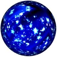 Christmas decoration in the form of a blue round ball