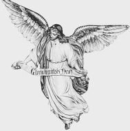 black and white drawing of an angel with large wings