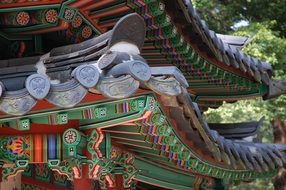 Roof of the palace among the forest in Seoul
