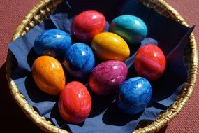 painted easter eggs in the basket