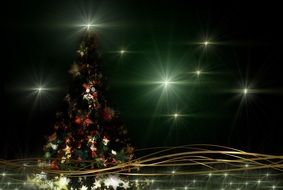 christmas atmosphere with stars and tree