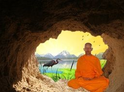 buddhist monk meditation in the cave