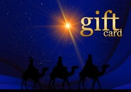 gift card with holy three kings on it