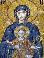 mosaic image of Maria with Jesus