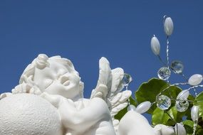 white sleeping angel statue