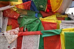 multicolored prayer flags in Nepal