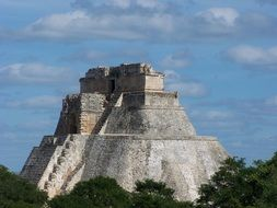 ancient maya temple, pyramid, mexico, yucatan