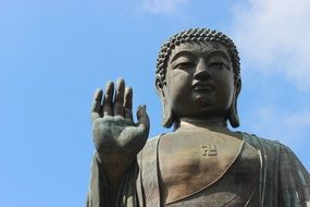 bronze statue of tian tan buddha in hong kong