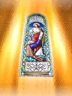 Picture of Jesus on the church window is sign of believe in god
