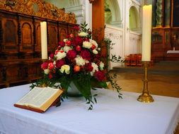 bible wedding altar and bouquet