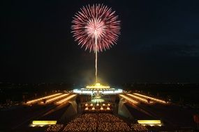 Fireworks over dhammakaya in thailand