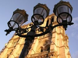 street lamp against the background of the Notre Dame de Paris