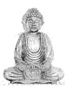 black and white image of a Buddha