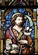 church window Jesus with lamb
