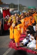monks in orange robes