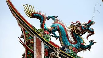 chinese mythic dragon on the temple