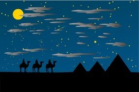 clipart of the holy three kings in a desert