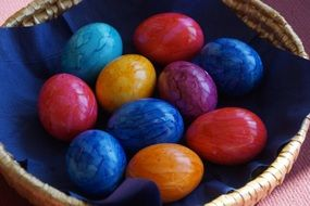 colored easter eggs spring bunny