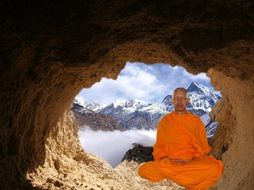 buddhist monk in the cave
