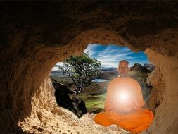buddhist meditation in the cave of himalayas