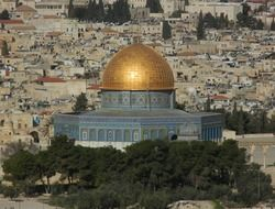 Panoramic view of Al Aqsa Mosque on the Temple Mount in Jerusalem