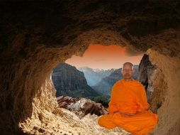 buddhist monk in meditation