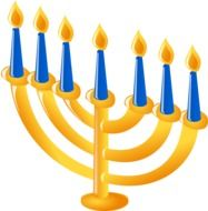 golden menorah with candles as a graphic image