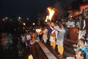 celebration near the ganga in haridwar