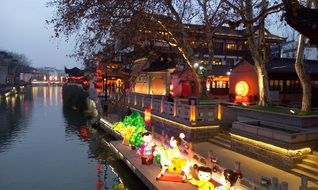 colorful lanterns at confucius temple, china, qinhuai