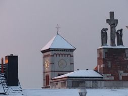 steeple church winter snowy