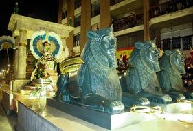 Egyptian sphinxes near the building