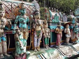 religious sculptures in a hindu temple in sri lanka