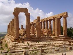 ruins of a temple with columns in sicily