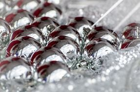 silver christmas decoration macro