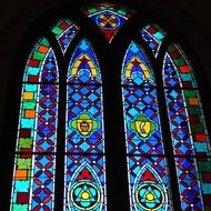 colorful stained glass window on a church window