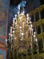 huge chandelier in the orthodox church