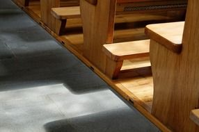 sunlight on church benches