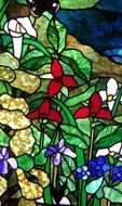 decorative bright flower stained glass